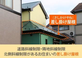 道路斜線制限・隣地斜線制限・北側斜線制限があるお住まいの差し掛け屋根